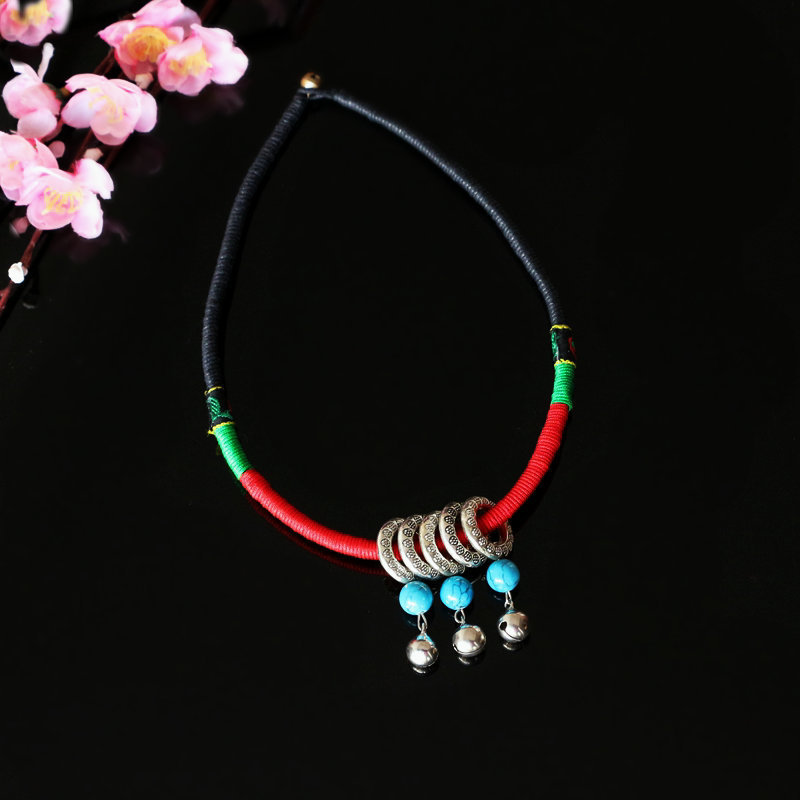 Original Chinese Ethnic Style Ornaments Manual Weave Wax Rope Sweater Collars Necklace Imitate Turquoise Tibetan Silver Pendants(China (Mainland))