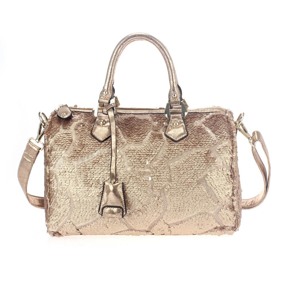 2017New Wonen Fashion Tote Bag European Style Handbag Big Handle Cross Body Long Strap Rock Pattern Sequins Light Gold Hardwares(China (Mainland))