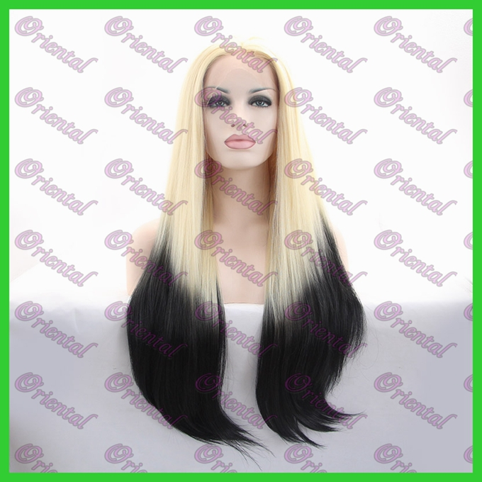 Oriental Synthetic lace front wig two tone 613/1B Straight front lace wig for Black woman wig cosplay wig on sale Free shipping<br><br>Aliexpress