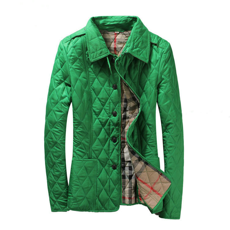 High Quality Branded Cotton Padded Jacket Short British Style Trench Coat Plaid Designer Slim Outwear 16 Colors M-XXL(China (Mainland))