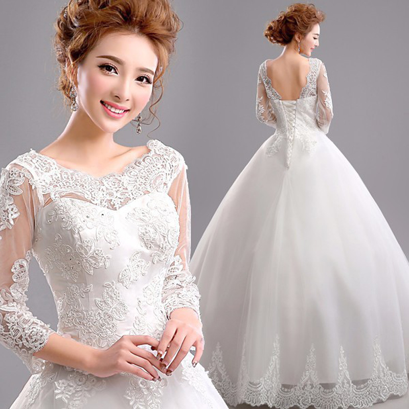 Long Sleeve Winter Wedding Gowns: Fashion Lace Winter Long Sleeve Bride Princess Wedding
