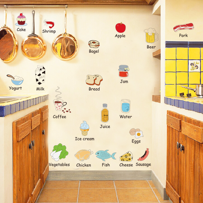 Wall decoration eco-friendly cartoon refrigerator stickers wall stickers Lovely furnished kitchen wall stickers(China (Mainland))