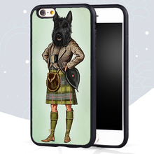 Scottie Dog Kilt scottish terrier Animal Printed Mobile Phone Case For iPhone 6 6S Plus 5 5S 5C SE 4 4S Soft Rubber Back Cover