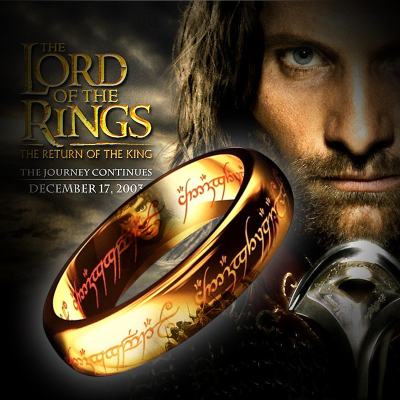 The Lord Of The Rings Rings Ror Man 100% Titanium Steel Quality Gold Ring The Hobbit Jewelry Fashion Gift Free Shipping(China (Mainland))