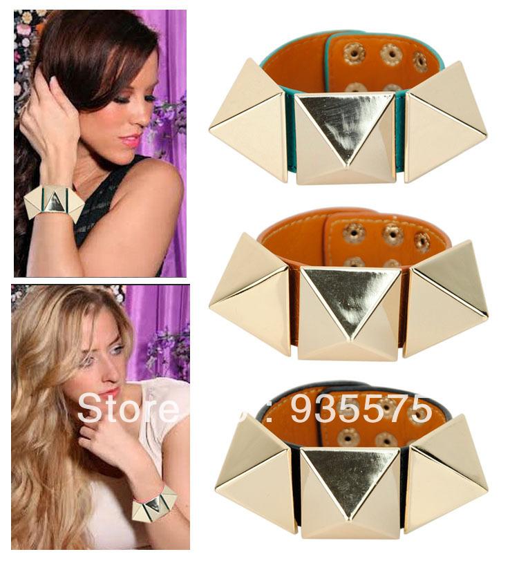 Women Genuine Real Leather Large Pyramid Studs Bracelet Punk Rock Bangle Snap Wide Cuff Funky Wristband Fashion Wholesale Gold(China (Mainland))