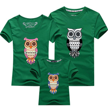 Family Look Owl Printed T Shirts12 Colors Summer Family Clothes Father & Mother & Daughter & Son Outfits Family Matching Clothes