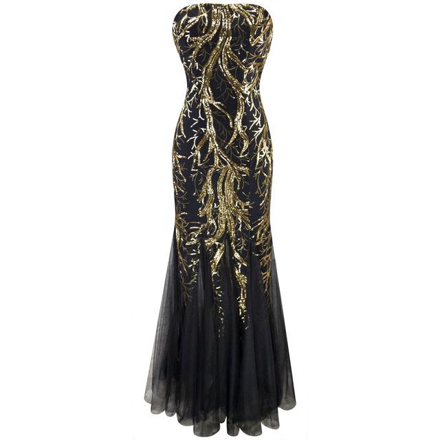 Angel-мода Новые Бретелек Золотая Ветвь Блестками Русалка Полная Длина Вечернее Платье