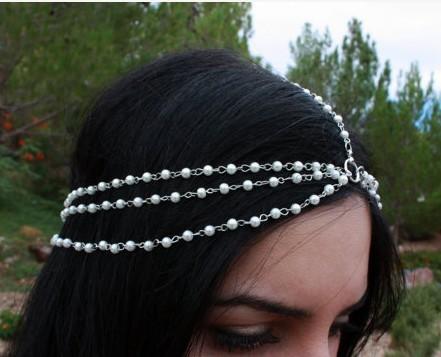 wholesale Bohemian Bridal Headpiece 7-strand White Bead pearl Chain Boho Hair piece Indian Bride Hair Jewelry Chain 6pieces(China (Mainland))
