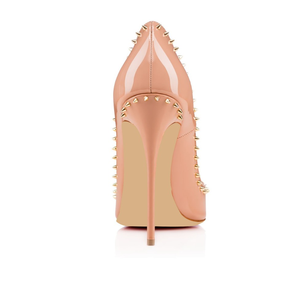 Amourplato Women Handmade Fashion Bnjalina 120mm Sky Heel Pointy Studs Sexy Party Pumps Shoes