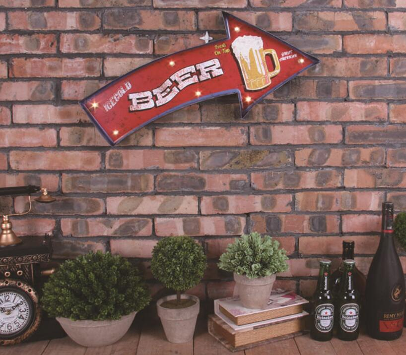 Beer Arrows Neon Sign Decor Painting Bar/Cafe Metal AD Signs LED Iron Wall Ornament(China (Mainland))