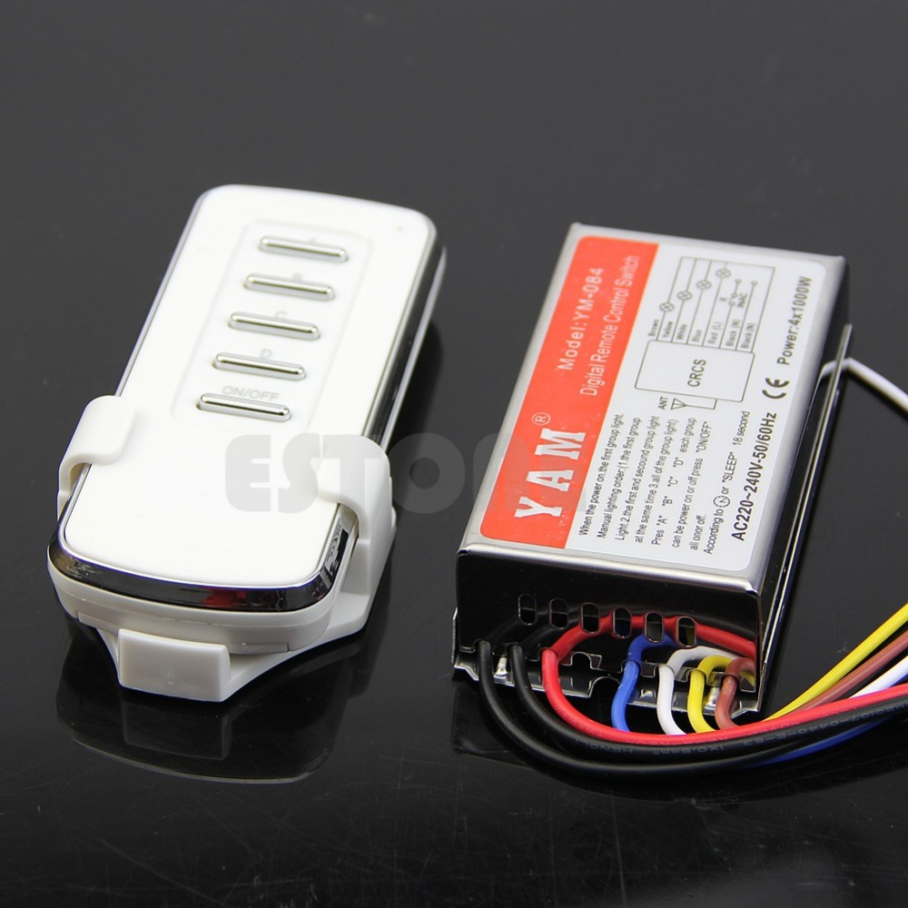 Free Shipping 4 Ways Remote Control ON/OFF AC 220V Digital Switch Controller For Light Lamp<br><br>Aliexpress