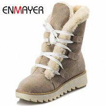 Buy ENMAYER Ankle Boots Women U.S Large Size 34-43 New Cute Style Warm Calf Suede Women Boots Flat Shoes Snow Boots Shoes Women for $24.25 in AliExpress store