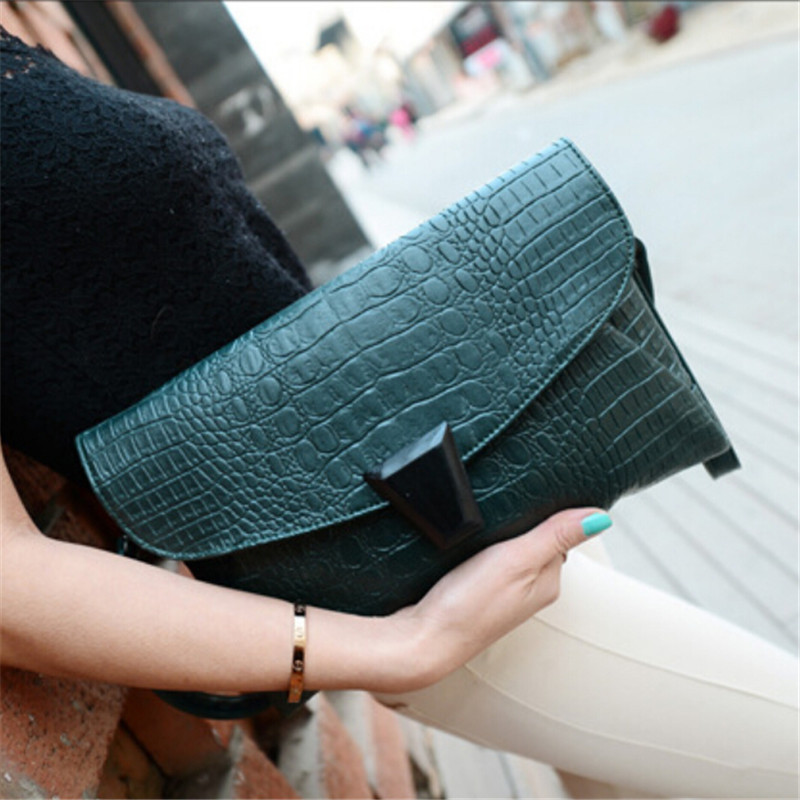 Factory outlets 2015 new handbag crocodile genuine leather envelope clutch bag Korean fashion bag shoulder bag Messenger bag 434(China (Mainland))