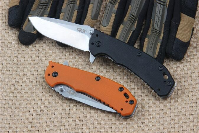 Buy High-end ZT0566 flipper D2 blade folding knife G10 handle ball bearing system  outdoor camping hunting tactical knife EDC tool cheap