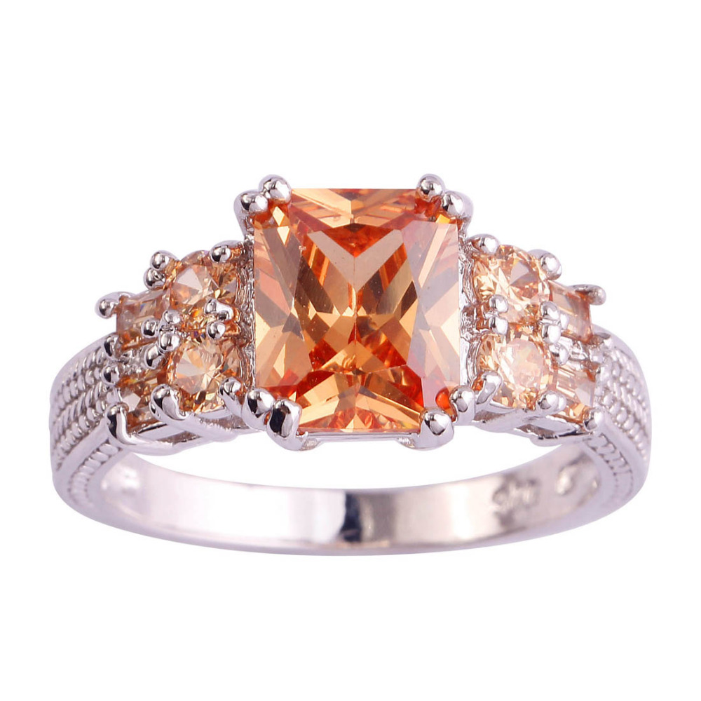 lingmei Wholesale Cocktail Rings Emerald Cut Morganite Silver Ring Size 10 Fa