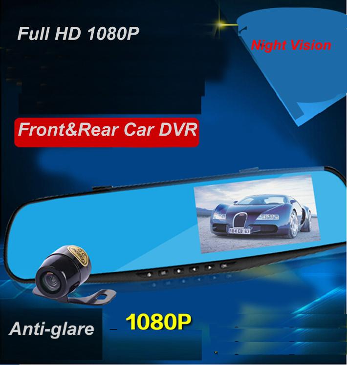 Двойная камера автомобильный видеорегистратор зеркало заднего вида даш Cam Full HD 1080 P 4.3 '' авто видеорегистраторы парковки жк-рекордер видео видеокамера ночного видения