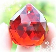 20 мм 100 шт./лот красного стекла грановитая освещение призма шаровые кристаллы для люстра свадебное ну вечеринку украшения