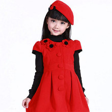 Red Pleated Dress Enfant Dress Kid Party Elegant Clothing Winter 2015 New Girl Kinder Kleidung Tutu Abbigliamento Bambini Europe