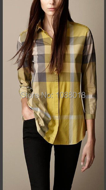 New Classical 2014 Women Designer British Long Sleeve Plaid Casual shirts/High Quality Big Check Tops/Blouse #8017 M-XXL(China (Mainland))