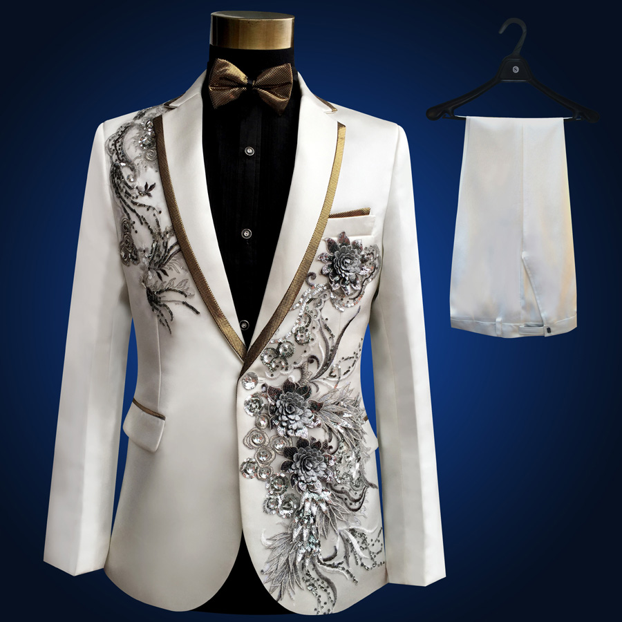 2016 Plus Size Men Suits S-4XL Royal Mens Embroidered Male Singer Slim Performance Party Prom Costumes Jacket+Pants(China (Mainland))