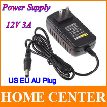 AC 100-240V to DC 12V 3A US EU AU Plug adapter charger Power Supply Adapter for Led Strips Lights Free shipping