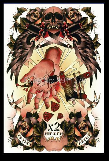 Europa Gangsta crânio estilo da velha escola banners loja de tatuagem Bar boate personalizado enfeites pinturas(China (Mainland))