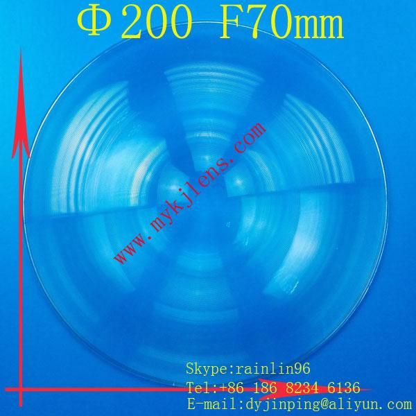 diameter 200 focus 70mm  round optical glass fresnel lens for stage light,traffic light, LED light ,follow spot,free shipping