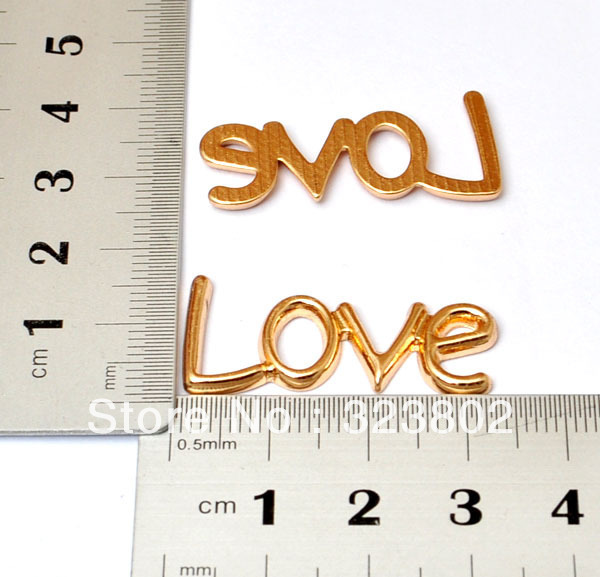 12PCS Flatback Gold Alloy Charm Love Word DIY Supplies Handmade Phone Case Apparel Luggage Bags Accessories cabochon