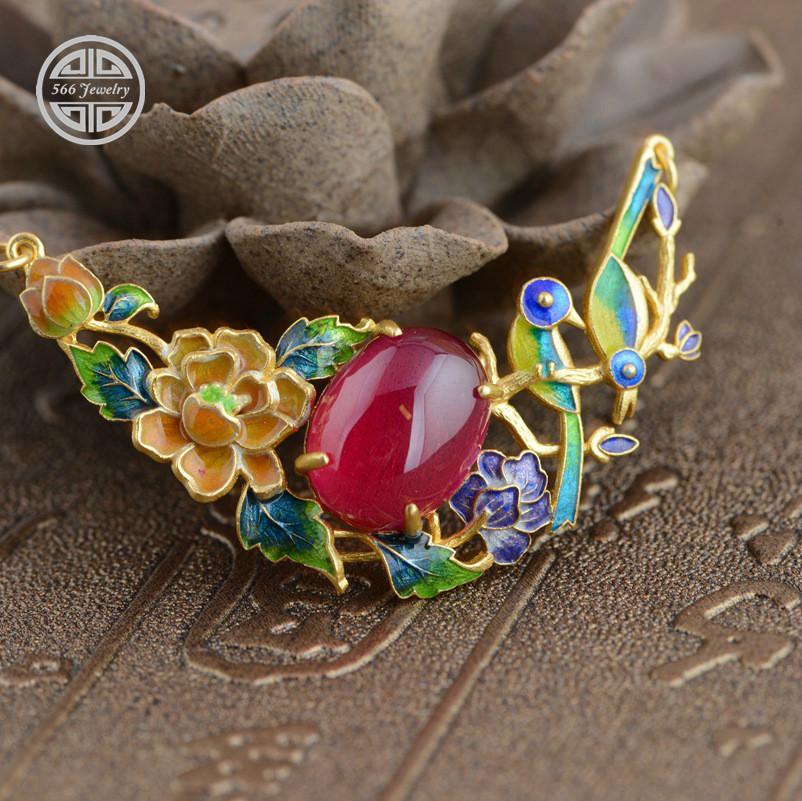 566 Jewelry Synthetic Ruby Pendant, Cloisonne Enamel Pendants, Flower 925 Real Silver Gold Plated Pendants Women PH005<br><br>Aliexpress