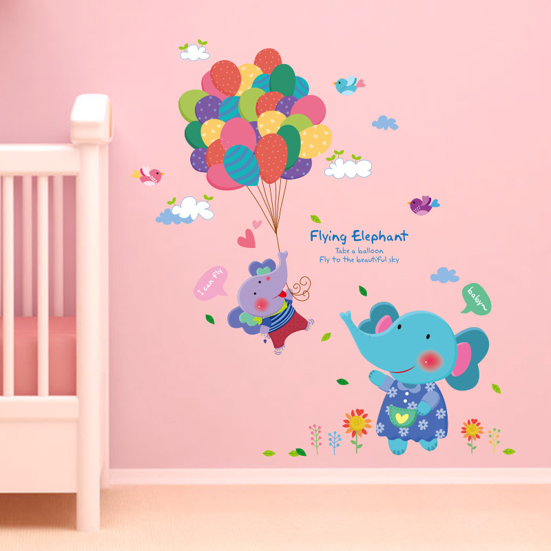 Baby elephant wallpaper promotion shop for promotional for Baby mural wallpaper
