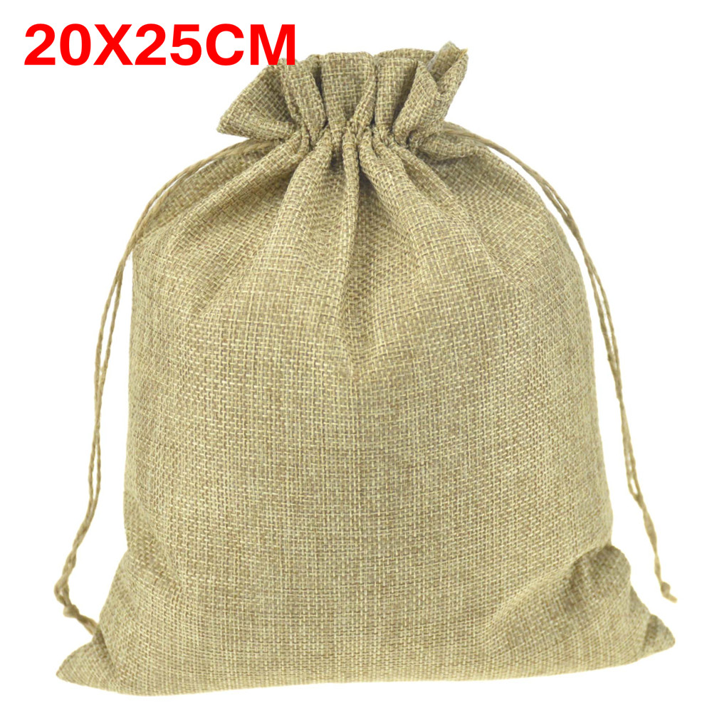 Large Natural Jute Sack Drawstring Bags Shoes Scarf Clothes Sock Dress Storage Packaging Bag For Home store 20x25cm 50pcs(China (Mainland))