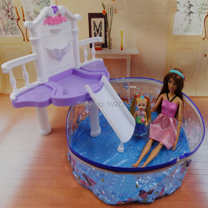 dollhouse furniture water fountain summer resorts beach swimming pool play set for barbie doll toy barbie dollhouse furniture sets