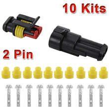 10 Set 2 Pin Way Sealed Waterproof Electrical Wire Connector Plug