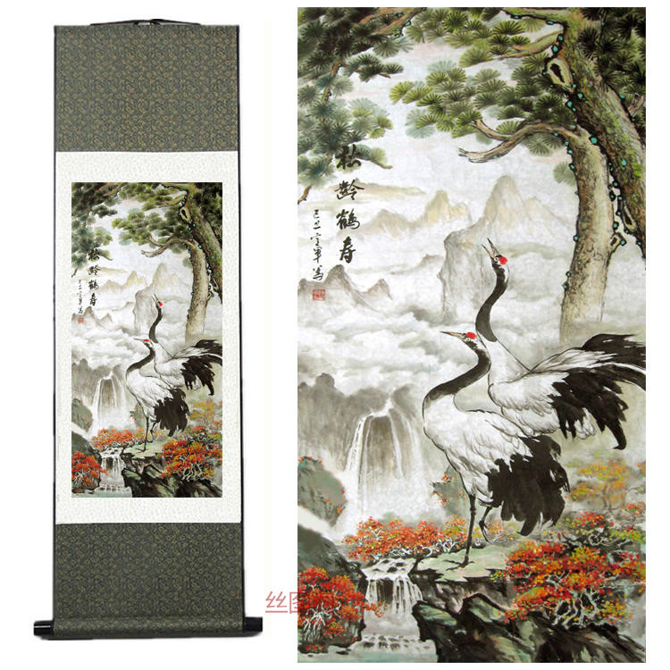 Home Decor Silk traditional Chinese painting Pine Crane Hok ink watercolor flower and bird feng shui scroll painting(China (Mainland))
