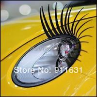 2pcs/lot Car Eye Lash 3D Funny Beetle Eyelashes Charming False Black Decal Decoration Car Headlight Sticker Free Shipping