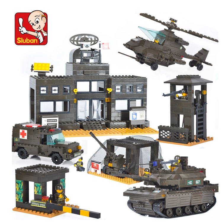 Building Block Sets Compatible lego military Army headquarters 3D Construction Brick Educational Hobbies Toys Kids