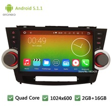 Quad core Android 5.1.1 2Din FM 10.1″ 1024*600 WIFI Car DVD Player Radio Stereo Audio Screen GPS For Toyota Highlander 2008-2012