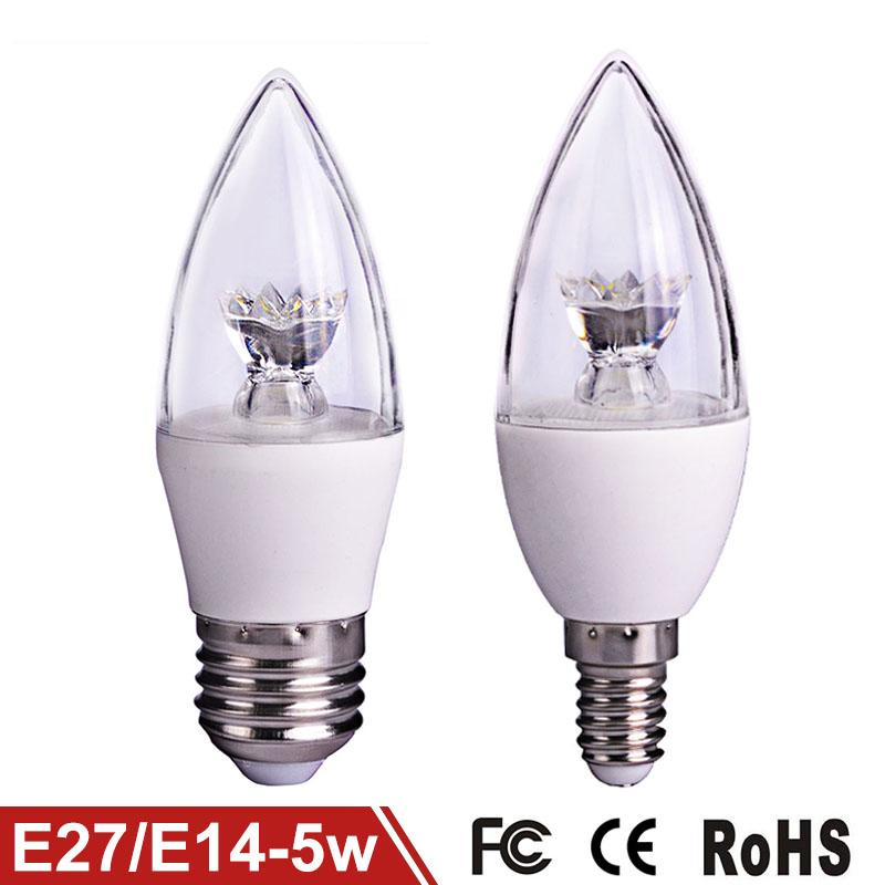 Wholesale LED Lamp 5W E27 E14 COB LED Bulb Candle Light 110V 220V Clear Crystal LED Light Pipe 270 Degree Lighting C37 50pcs/lot<br><br>Aliexpress