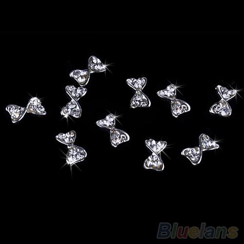 Prego 10x 3D Art liga de prata Tie Bowtie pedrinhas Glitters DIY 0BZK