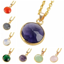 2014 Fashion Natural Stone Pendant Necklace For Women Sapphire Crystal Bijuterias Amethyst Opal Necklace Round Gem Jewelry