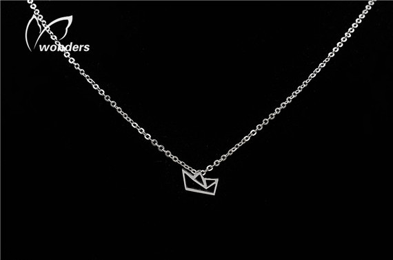 1piece Sample Order 2015 Leisure Jewelry Colourfast Stainless Steel Little Paper Boat Necklace Pendant For Women(China (Mainland))