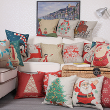 Cartoon Deer Santa Claus Printed Cotton Christmas Cotton linen blend Throw Home Decorative Cotton Linen Cushion Cover 45 x 45cm(China (Mainland))