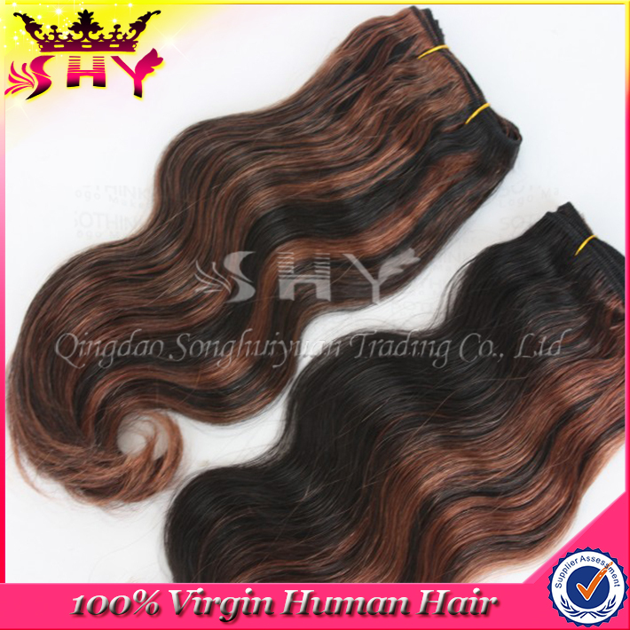 Brazilian Human Hair #1bT#4 Two Tone Virgin Hair Body Wave Extensions Grade AAAAA Length 8-26Inches Available<br><br>Aliexpress