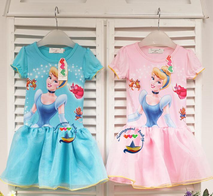 New arrivel girls lovely Cinderella printed dress kids summer snow white cosplay dress baby cute cartoon princess party dresses(China (Mainland))