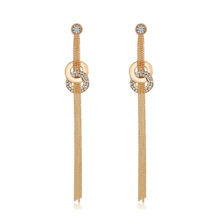 Long Tassel Earrings Pendants Multilayer Women High Quality Earrings 18K Gold Plated Austrian Crystal Sweater Drop Earrings(China (Mainland))