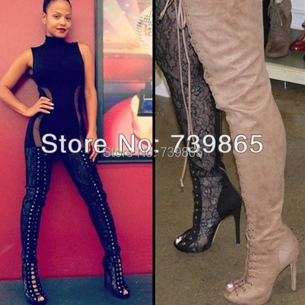 2014 Hot women lace up thigh high boots cut-outs gladiator sandal boots over knee booty sexy club boots plus size 11 12 13(China (Mainland))