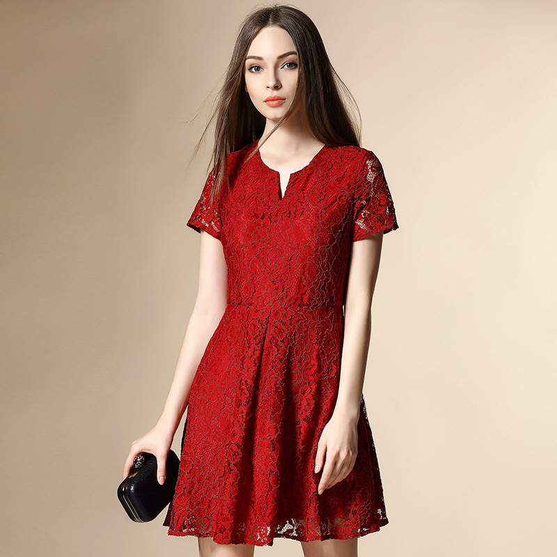 2016 Spring And Summer Lace Stitching V-neck Short-sleeved Dress Bridal Wear Red Dress Sexy Mini Dress High Quality Fashion Hot