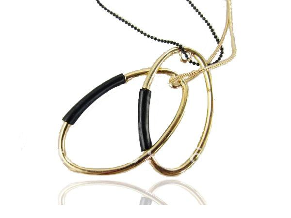 Wholesale Europe Style Nice Jewelry Double circles Double Line Lady's Long Necklace Pendant(China (Mainland))