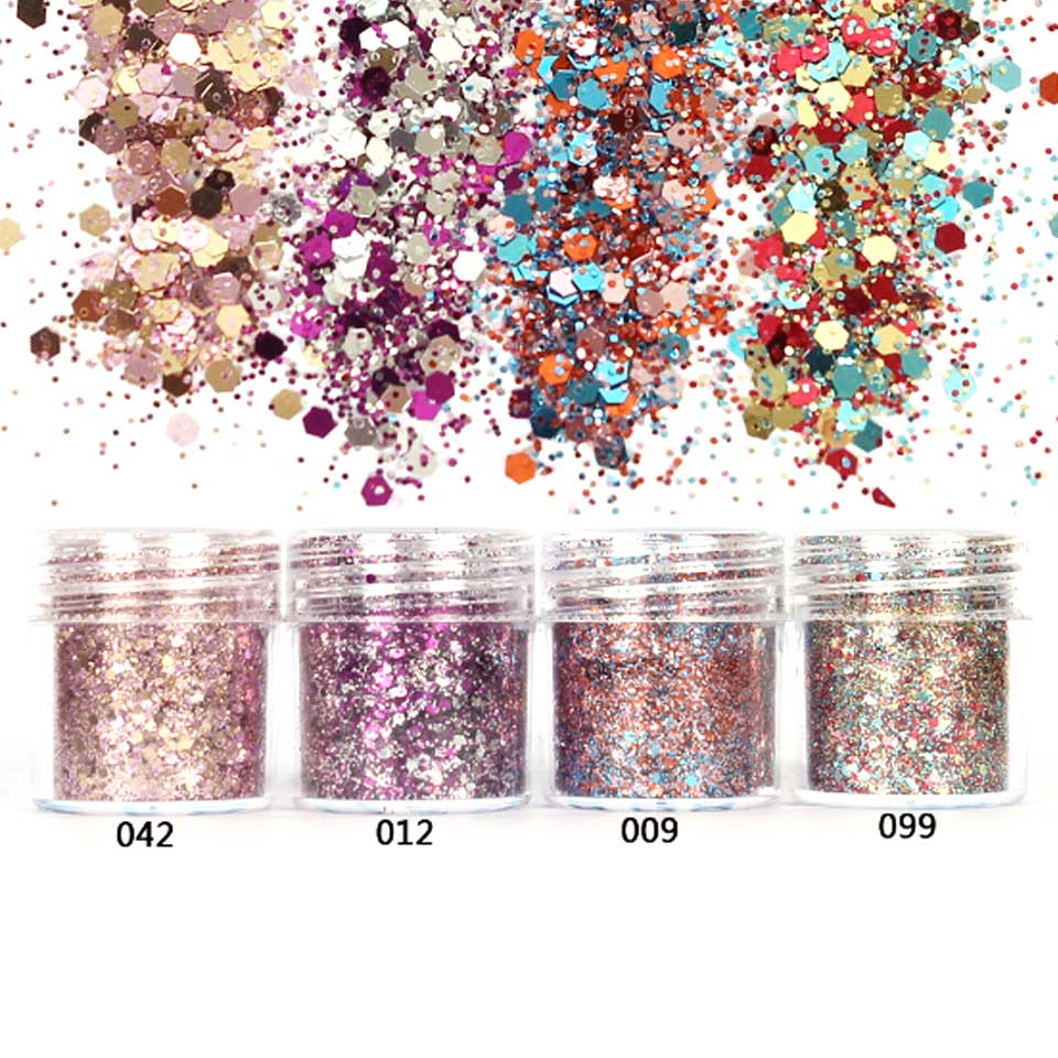 Pink Rose Colorful Nail Glitter Dust Fine Mix 3D Nail Sequins Acrylic Glitter Powder Large Nail Art Tips Decoration 10ML SF0027(China (Mainland))