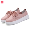 WeiDeng 2017 Meme Genuine Leather Loafer Wedge Platform Casual Flat Shoes Walking Sneakers Woman Lace Up